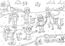 Free Child And Pet In The Park Cartoon For Coloring Stock Photography - 70003022
