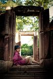 Child in Angkor Thom Ruins Stock Photos