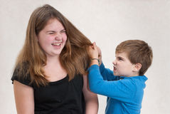 Child Angry at Sister. Young boy pulling his sister's hair in anger Royalty Free Stock Images