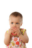 Child & apple. Child with apple isolated on white Stock Photo