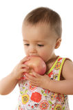 Child & apple. Child with apple isolated on white Stock Images