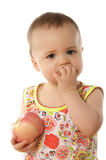 Child & apple. Child with apple isolated on white Royalty Free Stock Images