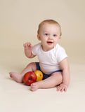 Child with Apple  Baby Eating and Nutrition Royalty Free Stock Photo