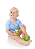 The child with an apples Stock Photo