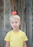 Child and apples in the garden. Boy and apples in the garden royalty free stock image