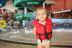 Child in aquapark Royalty Free Stock Images