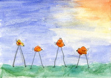 Child aquarelle birds drawing Stock Photo