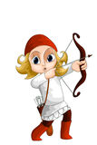 Child archer character cartoon style  illustration white Stock Image