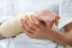 Child arm. Child arm with elastic bandage on it Royalty Free Stock Photos