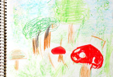 Child art. Real draw from a kid small child Stock Image
