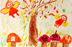 Child art. Real draw from a kid small child Stock Images
