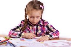 Child - artist paints picture Stock Photos