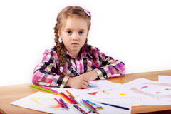 Child - artist paints picture Royalty Free Stock Photography