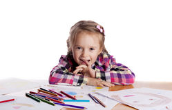 Child - an artist with a sketch Royalty Free Stock Images