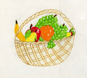 Child artwork - fruit still life stock images