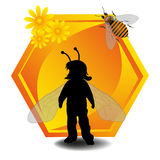 Child as a bee. Abstract colorful background with a little girl dressed as a bee in front of a huge honeycomb cell decorated with yellow flowers vector illustration