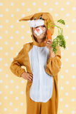Child as easter hare with carrot Royalty Free Stock Photos