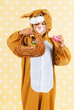 Child as easter hare with eggs Stock Photography
