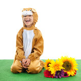 Child as easter hare with flowers Stock Photos