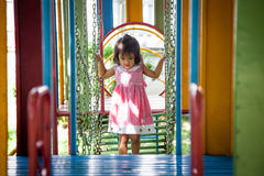 Child asian little girl having fun to play with toy Stock Image