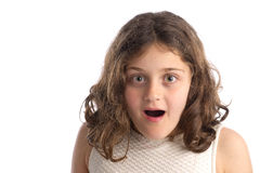Child with astonished expression isolated Stock Photo
