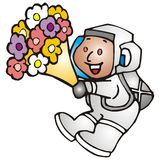 Child astronaut with flowers Royalty Free Stock Image