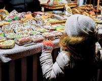 Free Child At Colorful Gingerbreads At The Riga Christmas Market Royalty Free Stock Image - 77766176