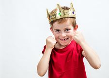 Child attitude and dental care for a smiling spoiled boy Stock Image