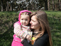 Child with aunt. Little girl with her aunt Stock Image