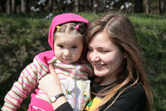 Child with aunt. Little girl with her aunt Royalty Free Stock Photography