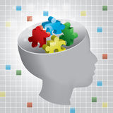 Child Autism Profile. Profiled head of a child with symbolic autism puzzle pieces Stock Photos