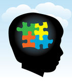 Child Autism Silhouette. A silhouette of a child with symbolic autism puzzle pieces. EPS 10. Transparencies used Stock Images