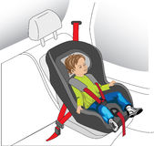Child auto seat. Auto seat for child, boy with safety belt on Royalty Free Stock Photo