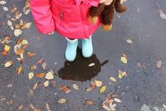 Child autumn activity royalty free stock image