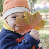 Child with autumn leaf Royalty Free Stock Photos