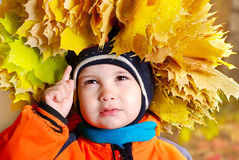 The child with autumn leaves. The child with a wreath from leaves on a head Stock Photography