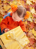 Child  in autumn orange leaves and gift box. Royalty Free Stock Photos