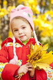 Child in autumn park. Royalty Free Stock Photos