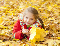 Child in autumn park. Royalty Free Stock Images