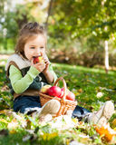 Child in autumn park Royalty Free Stock Image