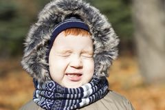 Child in autumn, portrait. Picture of a young child during a walk in the park in the autumn season. the boy squinted against the sunlight Stock Photos