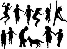 Child b. Set of playful children silhouettes. Vector illustration Royalty Free Stock Photography
