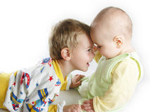 Child with baby. On white Royalty Free Stock Images