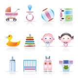 Child, Baby and Baby Online Shop Icons. Vector Icon Set Royalty Free Stock Photo