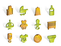 Child, Baby and Baby Online Shop Icons Royalty Free Stock Photos