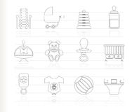 Child, Baby and Baby Online Shop Icons Royalty Free Stock Images