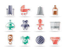 Child, Baby and Baby Online Shop Icons. Vector Icon Set Stock Image
