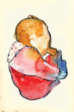 Child with a baby bottle - Water colors into vector Royalty Free Stock Photo