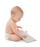 Child baby boy toddler computer keyboard Stock Image