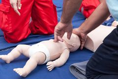 Baby or child first aid training and CPR. Child or baby first aid training. Cardiopulmonary resuscitation - CPR stock images